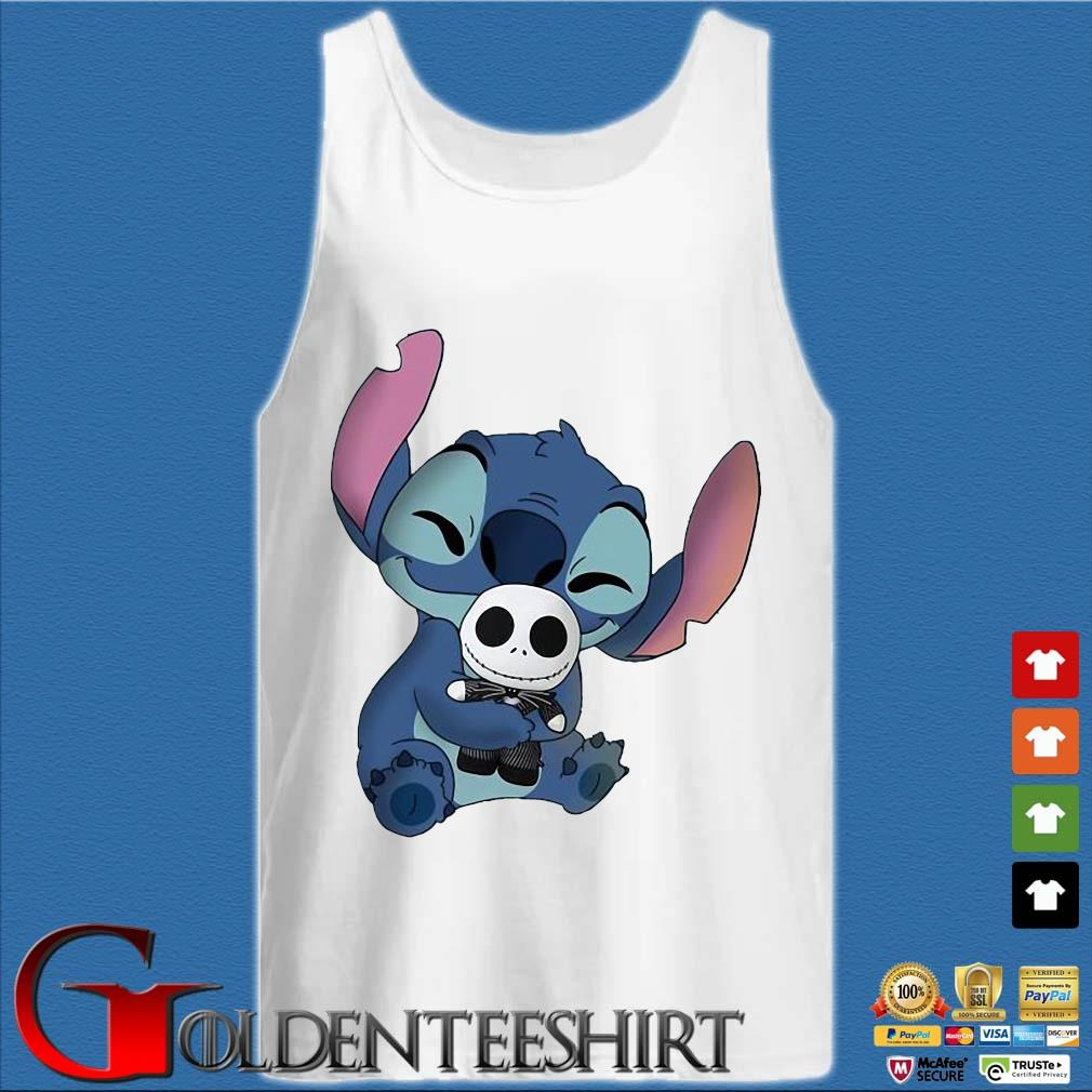 Baby Stitch Hug Baby Jack Skeleton Shirt Tank top trắng