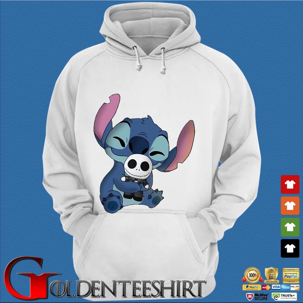 Baby Stitch Hug Baby Jack Skeleton Shirt Trang Hoodie