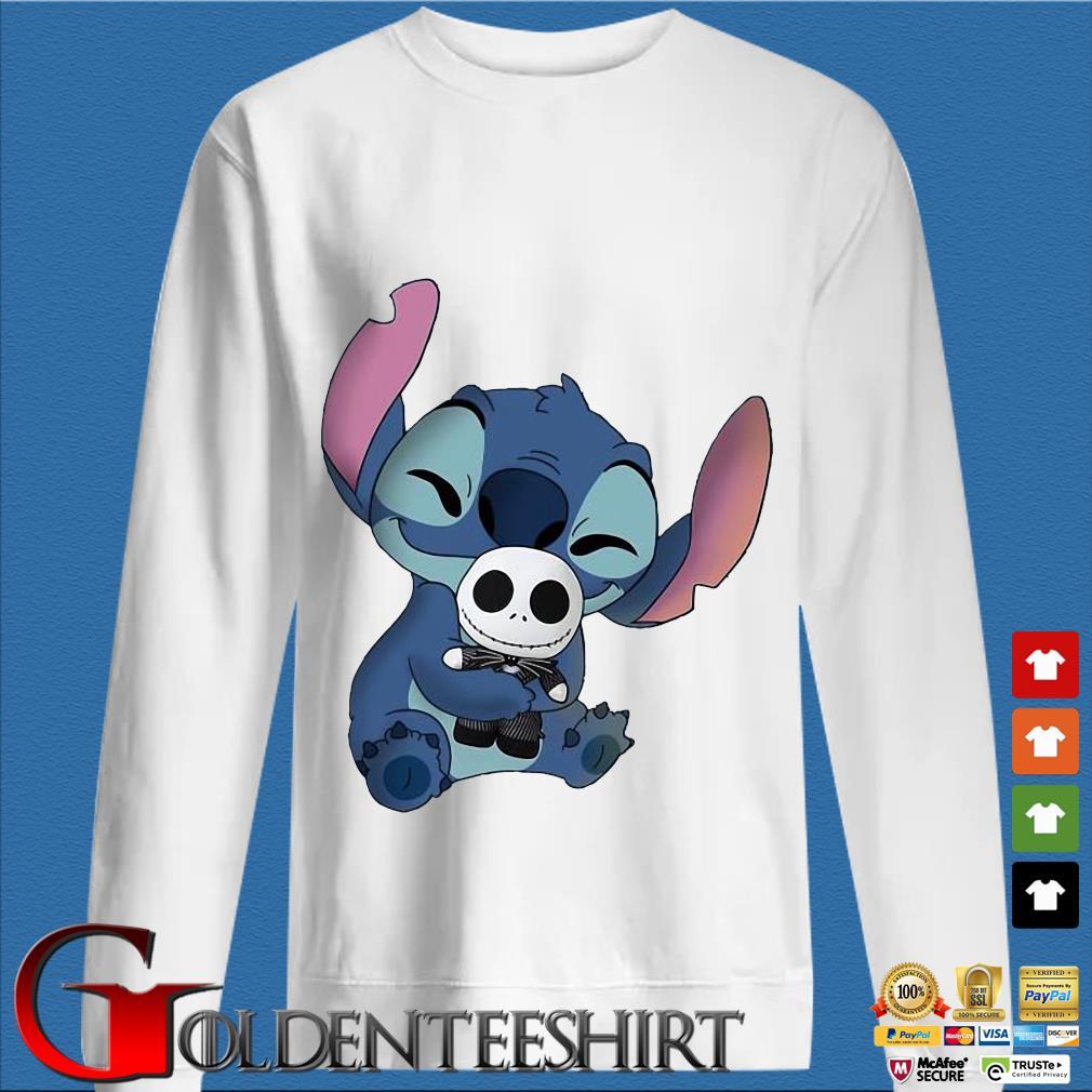 Baby Stitch Hug Baby Jack Skeleton Shirt trang Sweater