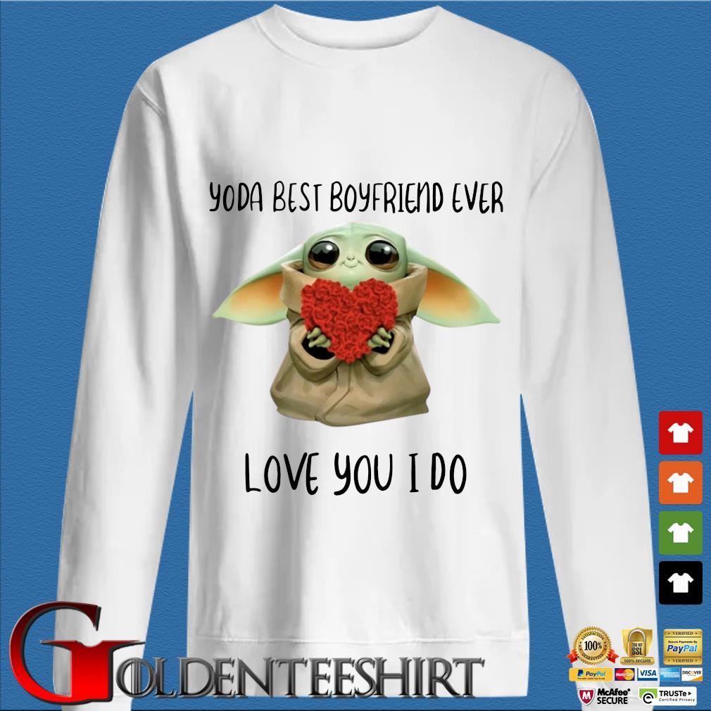 Baby Yoda Hug Flower Heart Best Boyfriend Ever Love You I Do Shirt trang Sweater
