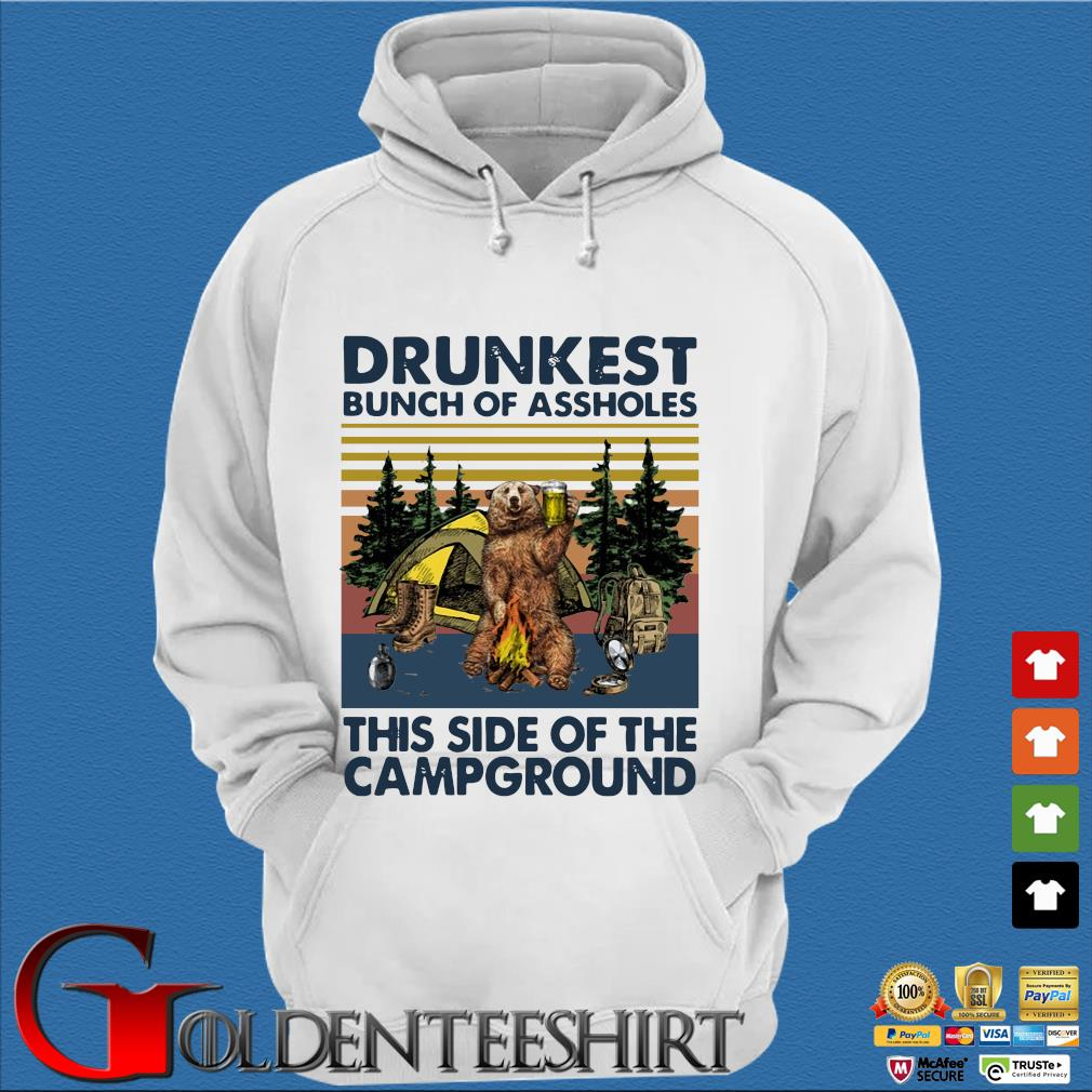 Bear drunkest bunch of assholes this side of the campground vintage shirts Trang Hoodie