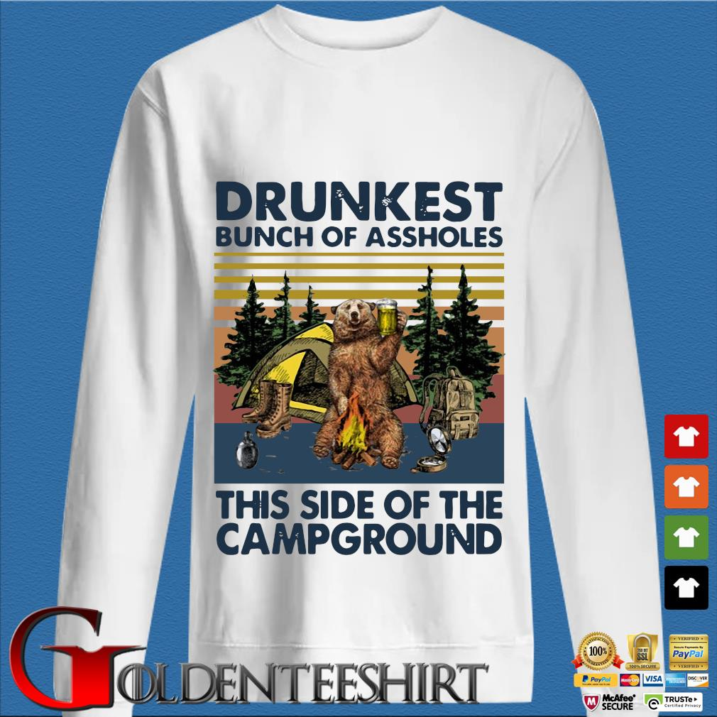 Bear drunkest bunch of assholes this side of the campground vintage shirts trang Sweater