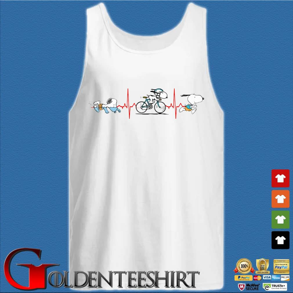 Heartbeat snoopy like swimming riding bike and running s Tank top trắng