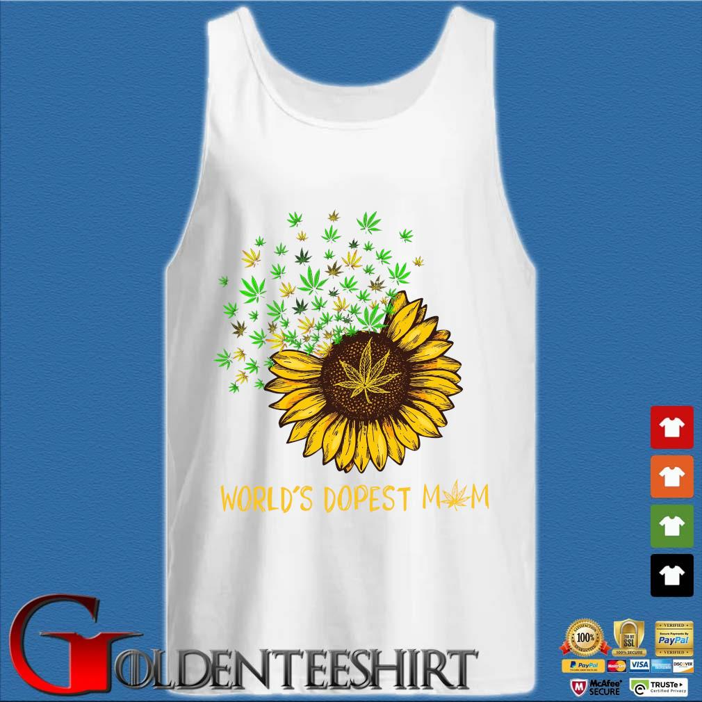 Sunflower cannabis weed world's dopest mom s Tank top trắng