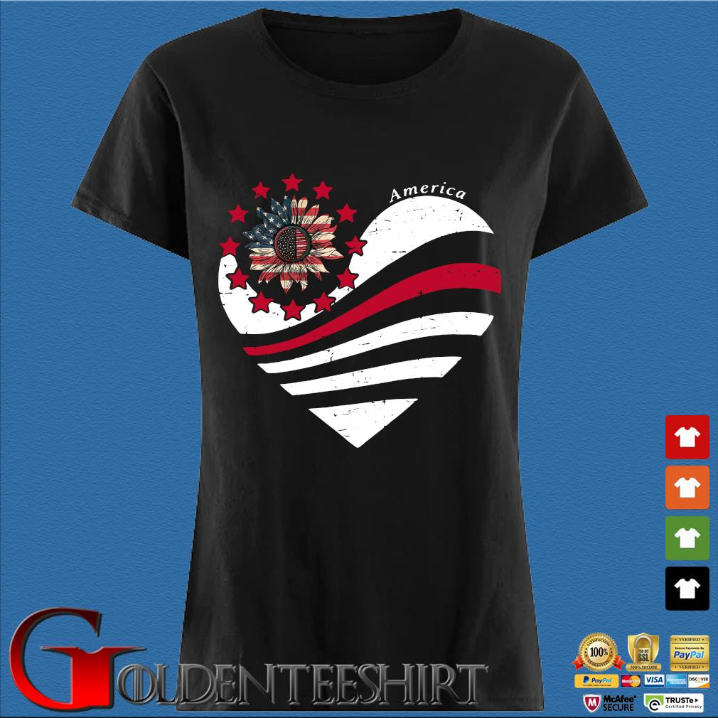 Sunflower Heart American Flag Independence Day Tee Shirt Den Ladies
