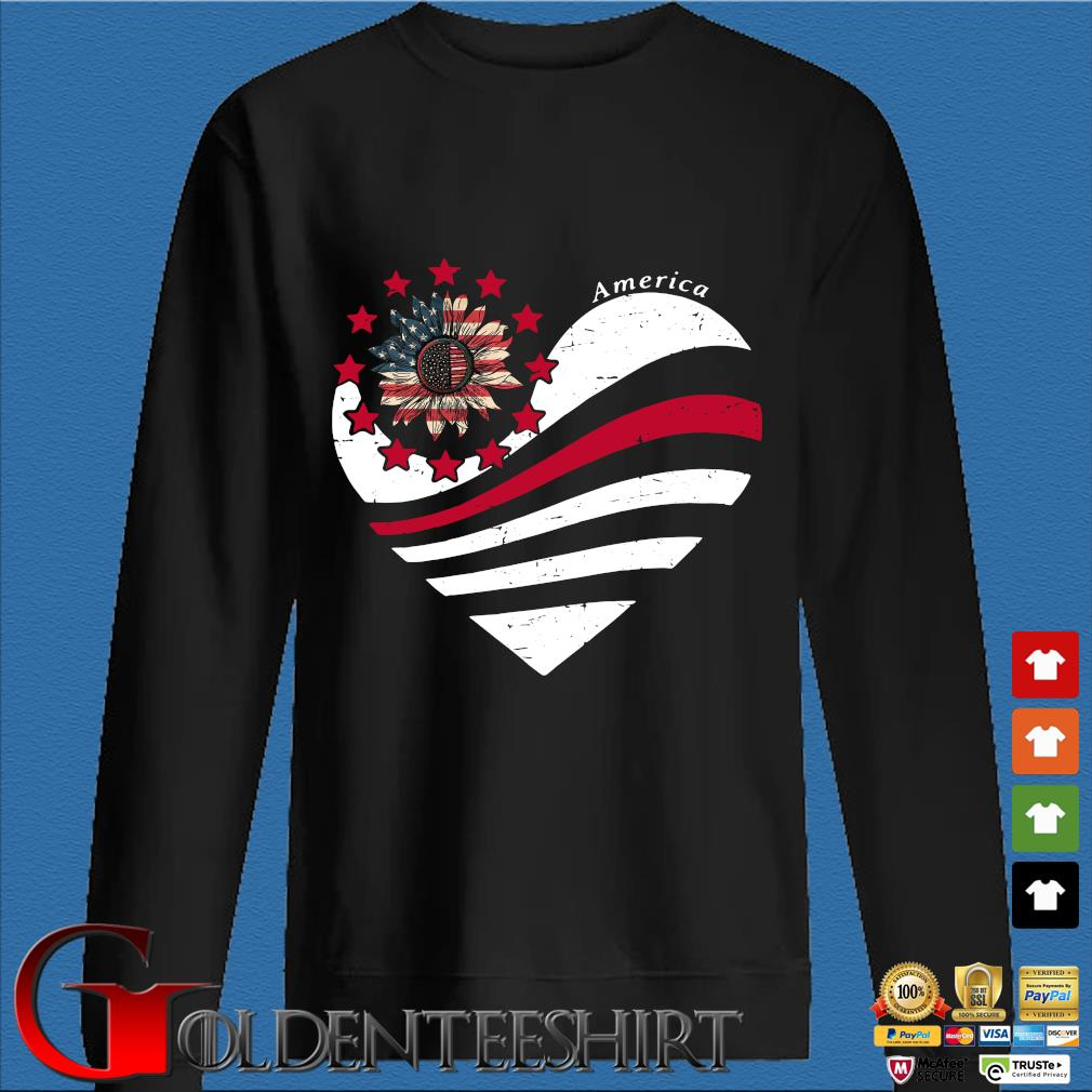 Sunflower Heart American Flag Independence Day Tee Shirt Den Sweater