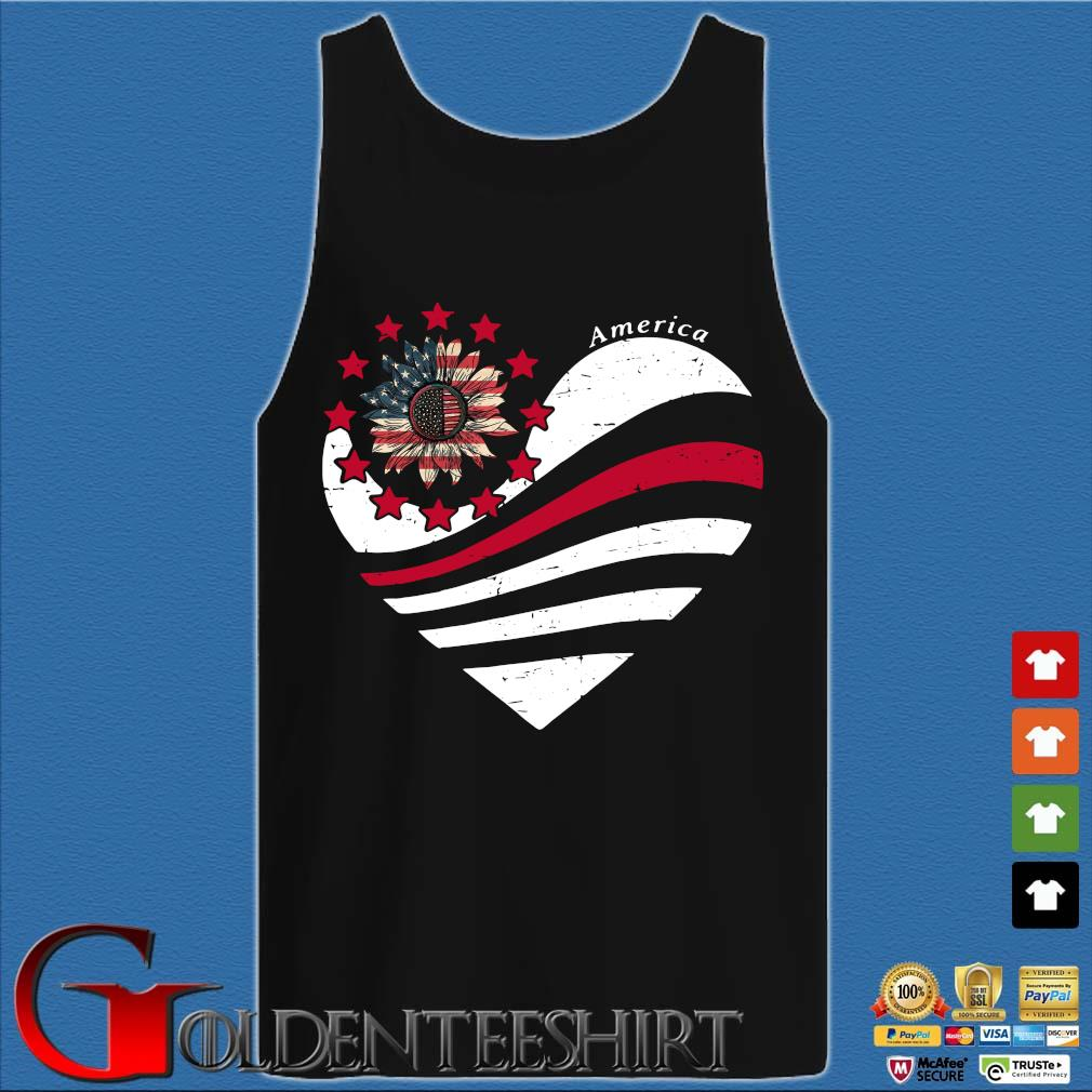 Sunflower Heart American Flag Independence Day Tee Shirt Tank top den