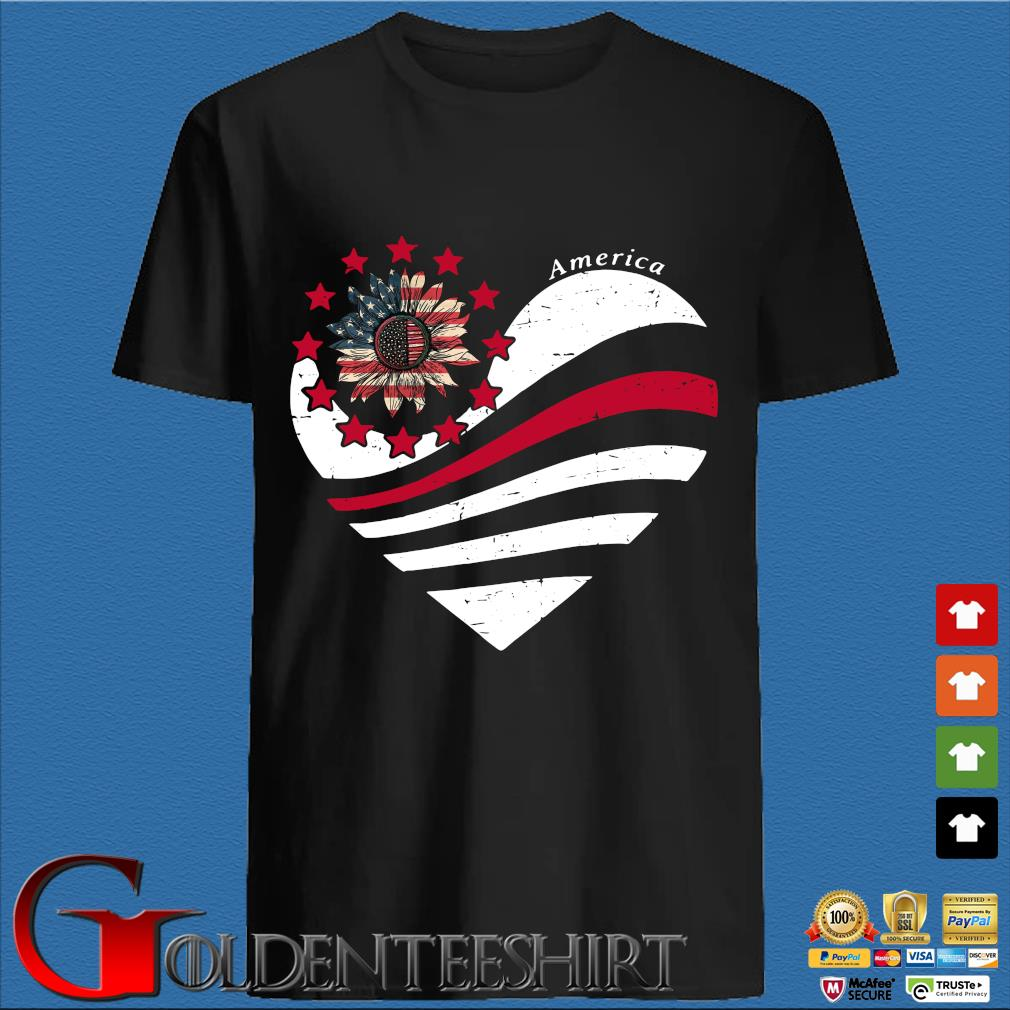 Sunflower Heart American Flag Independence Day Tee Shirt