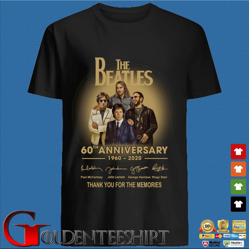 The Beatles 60th anniversary 1960 2020 signatures thank you for the memories shirt