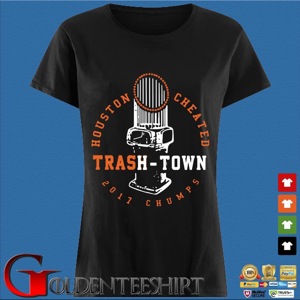 Trevor Bauer Houston Cheated Trash Town Tee Shirt Den Ladies