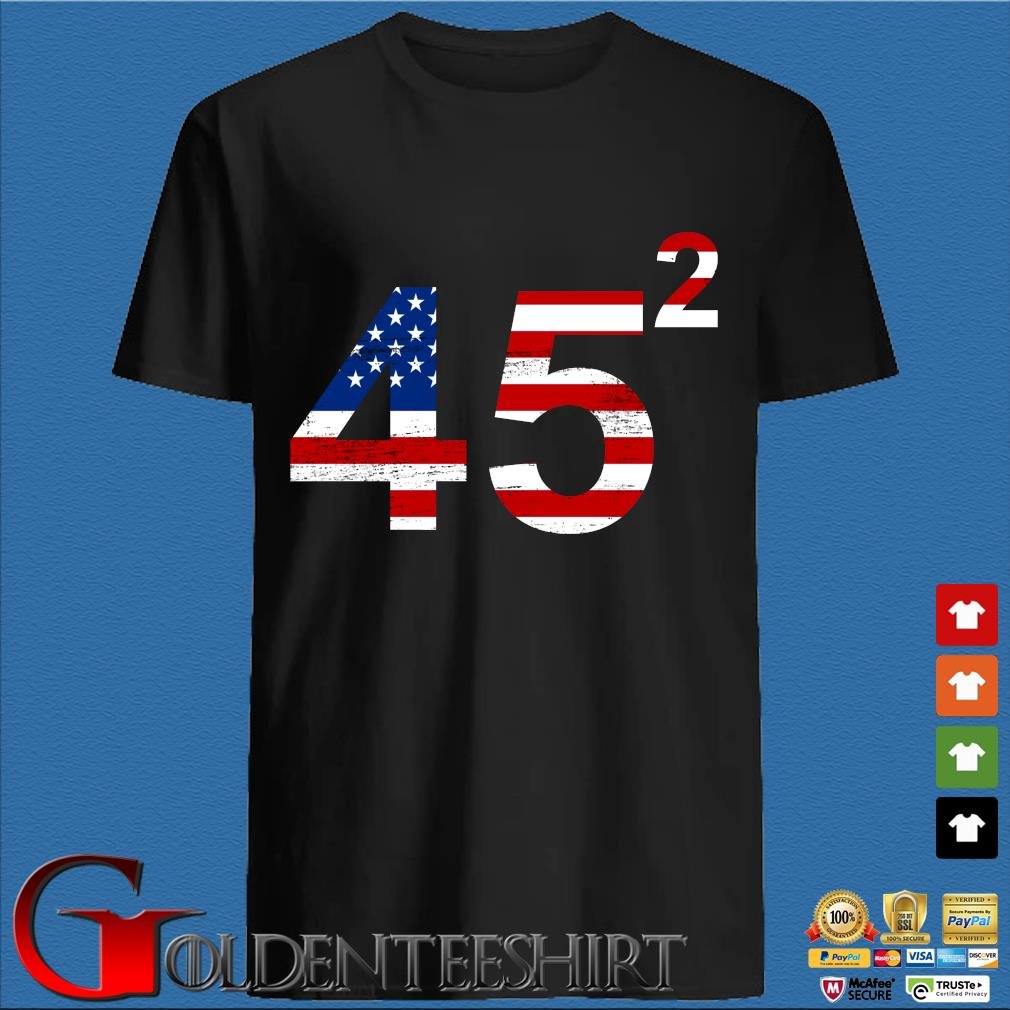 Trump 45 square American flag shirt