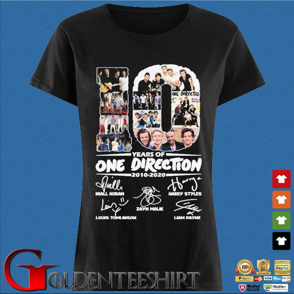 10 Years Of One Direction 2010-2020 Signatures Shirt Den Ladies