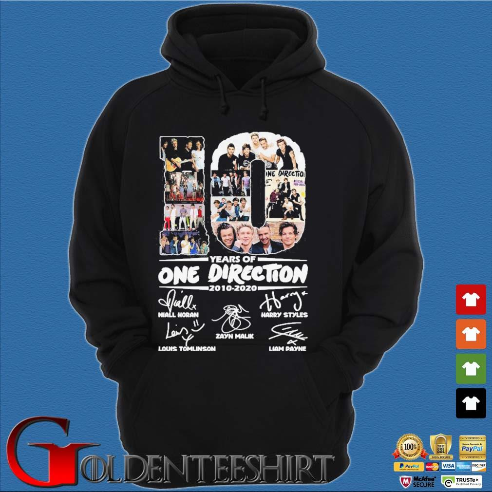 10 Years Of One Direction 2010-2020 Signatures Shirt Hoodie đen