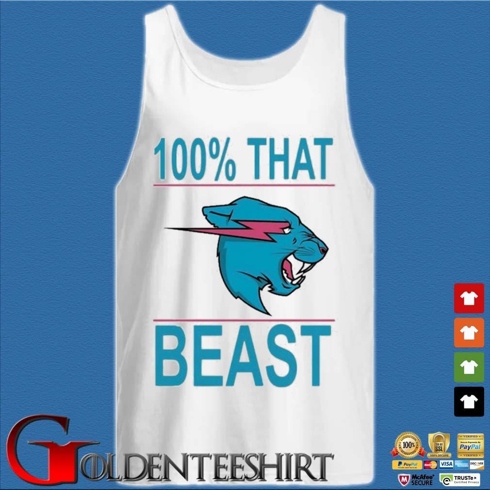 100% That Beast Mr Beast Shirt Tank top trắng