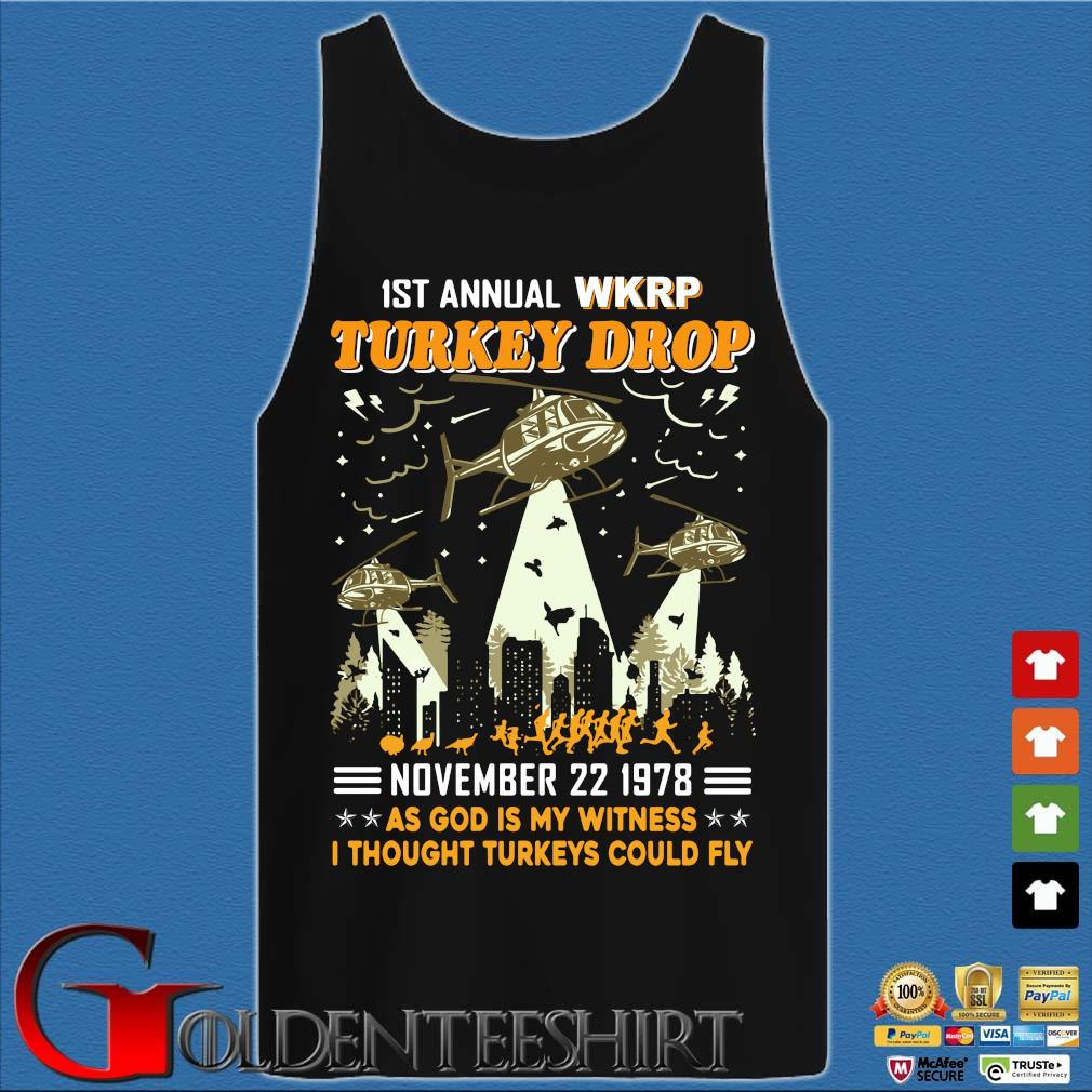 1St Annual WKRP Turkey Drop november 22 1978 as god is my witness I thought Turkeys could fly s Tank top den