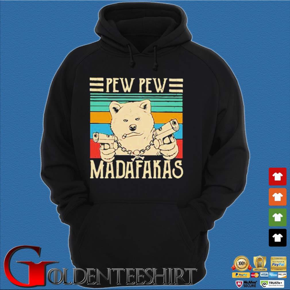 Akita Inu Pew Pew Madafakas Vintage Shirt Hoodie đen