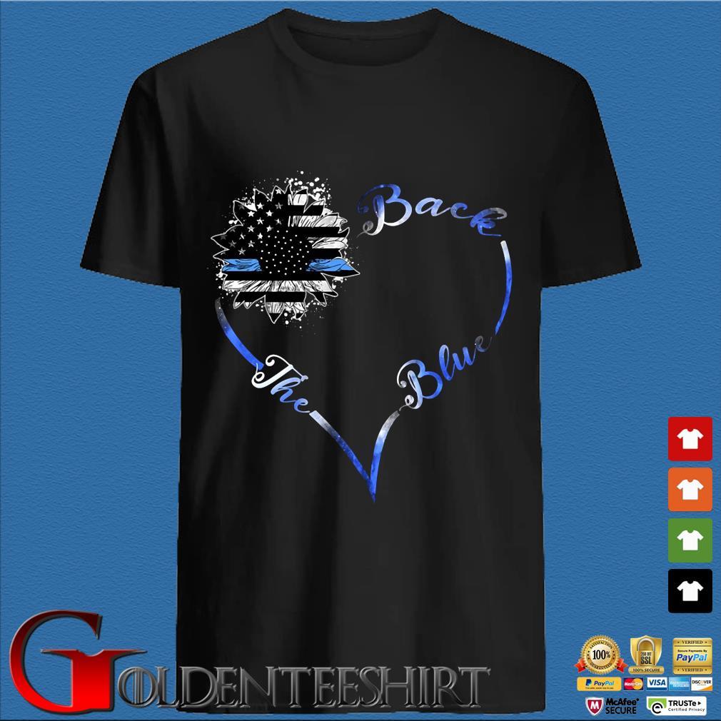 Back the blue sunflower heart American flag shirt