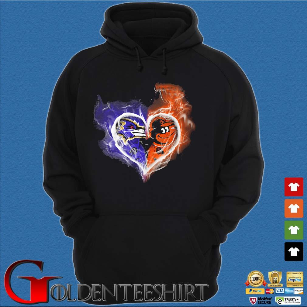 Baltimore Ravens and Baltimore Orioles skull love s Hoodie đen