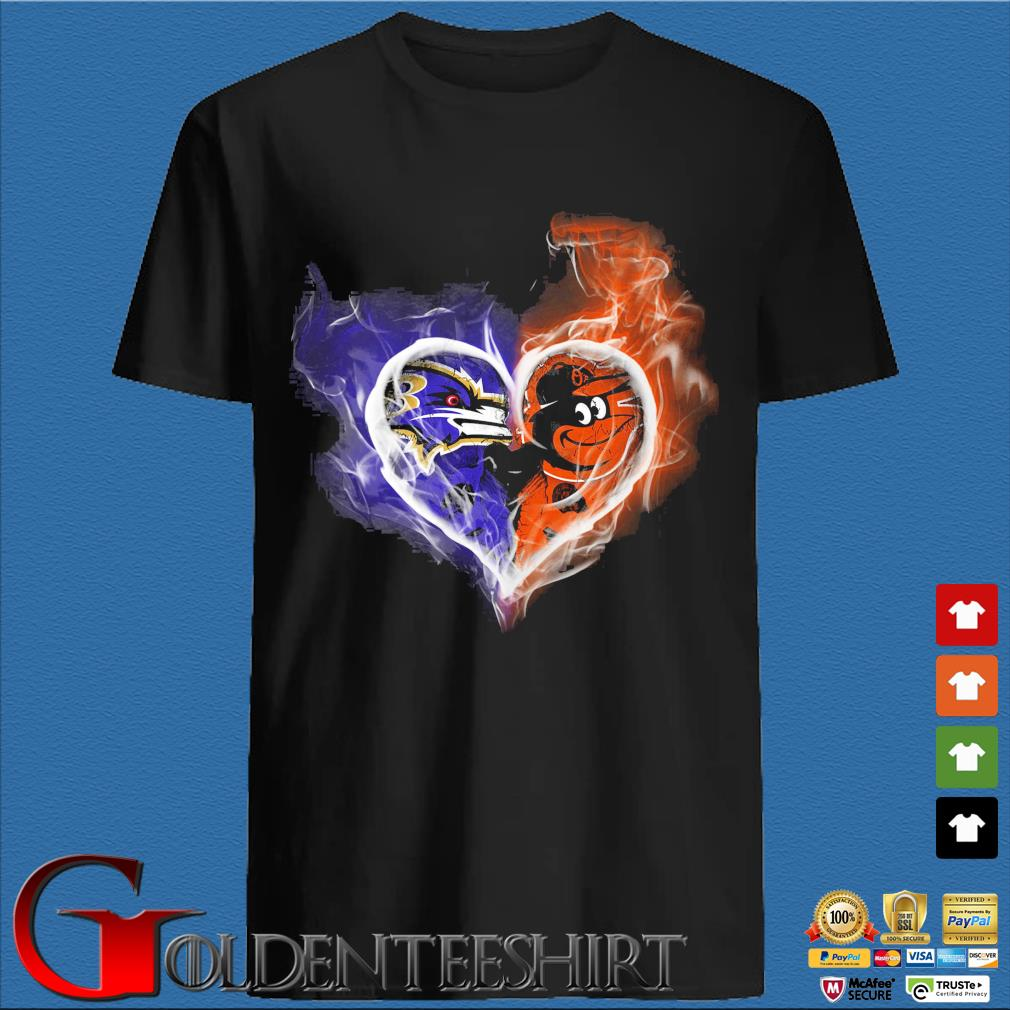 Baltimore Ravens and Baltimore Orioles skull love shirt