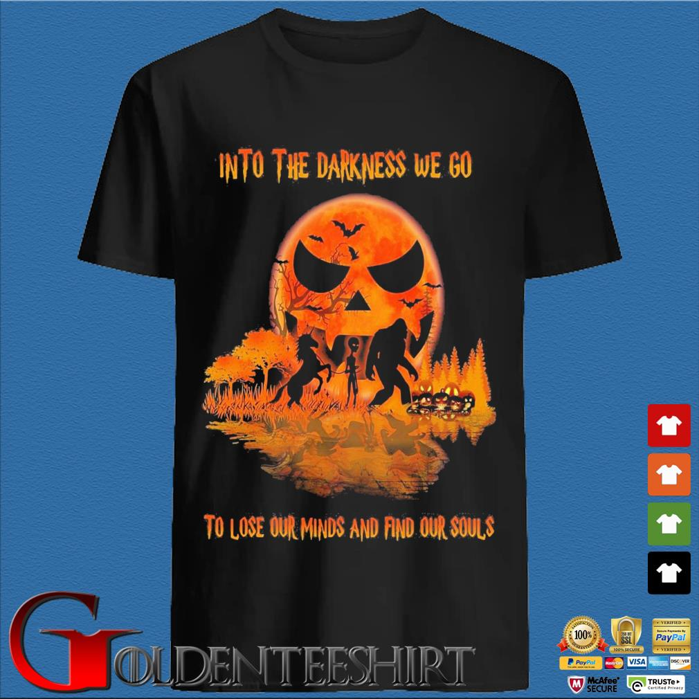 Bigfoot Alien And Unicorn Into The Darkness We Go To Lose Our Minds And Finds Our Souls Halloween Water Reflection Shirt