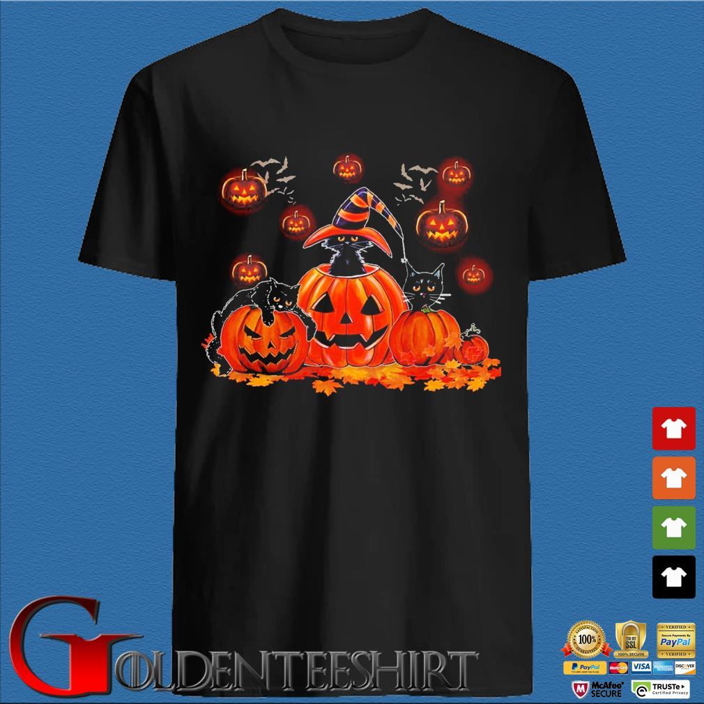 Black Cat Witch Pumpkin Happy Halloween shirt