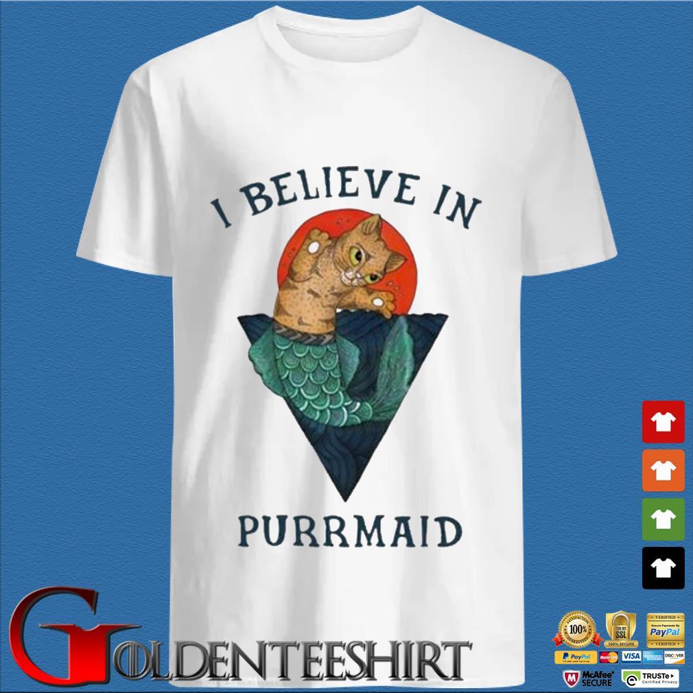 Cat I believe in purrmaid sunset shirt