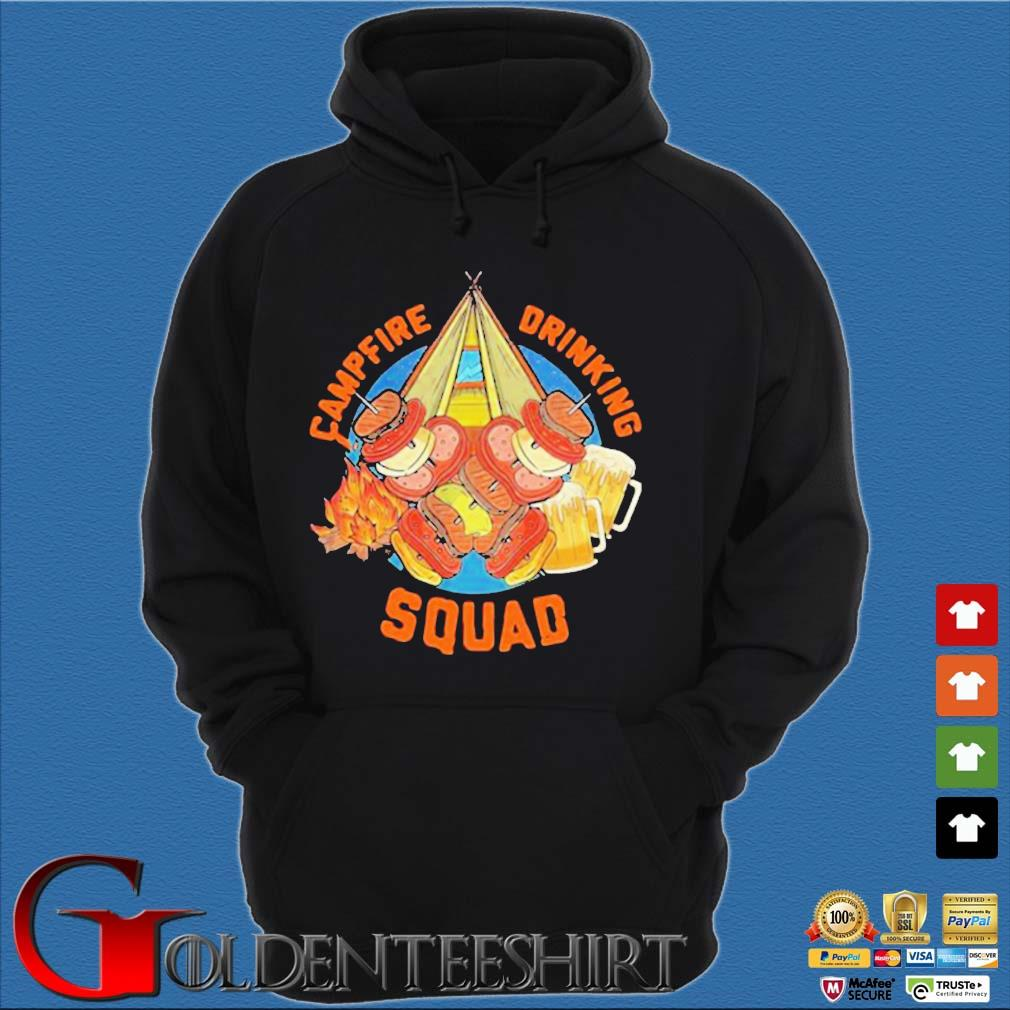 Sweet Camping Campfire Drinking Squad Shirt Hoodie đen