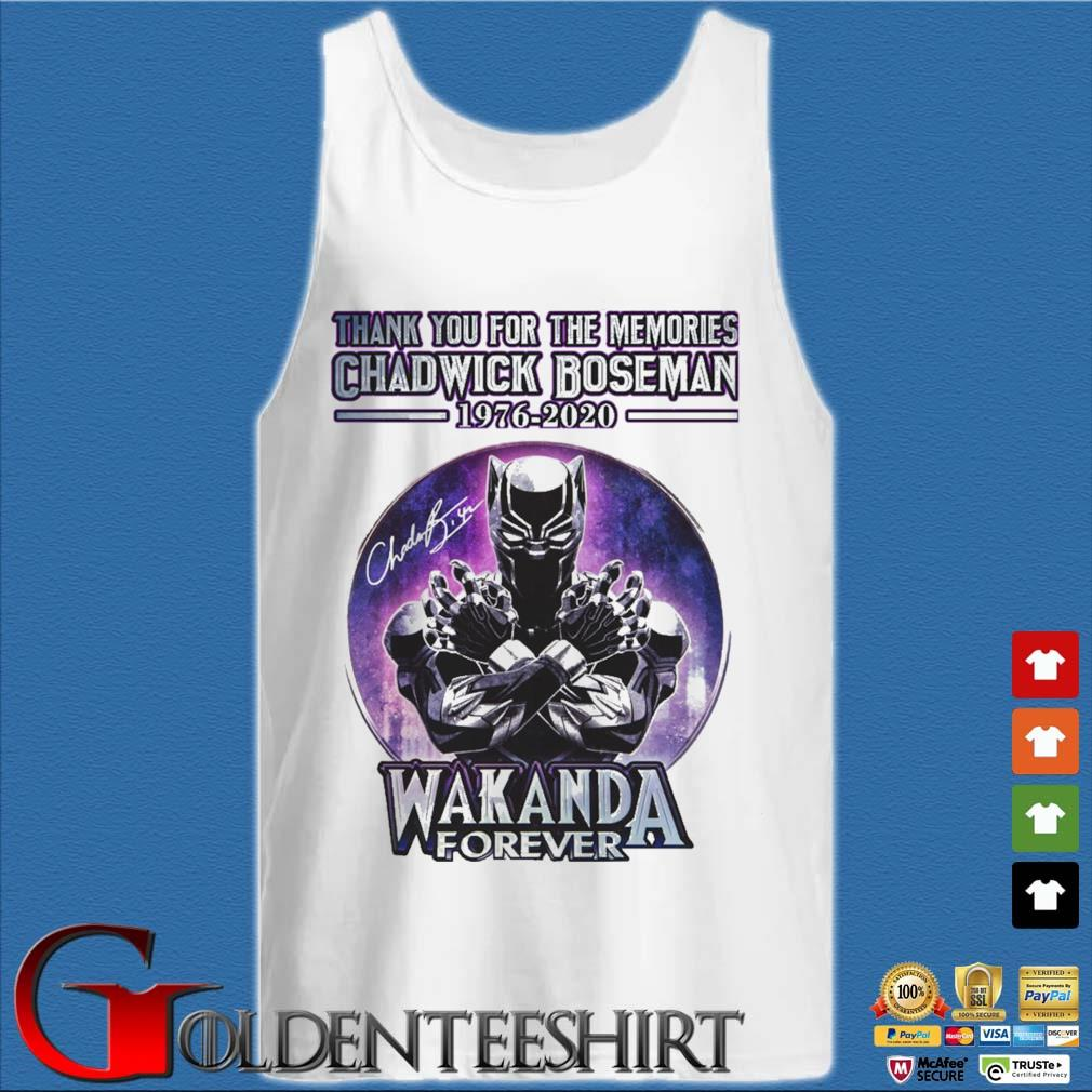 Thank you for the memories Chadwick Boseman 1976-2020 Wakanda Forever signature retro s Tank top trắng