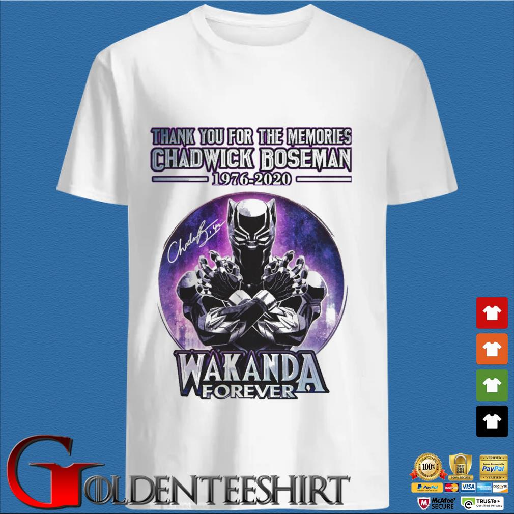 Thank you for the memories Chadwick Boseman 1976-2020 Wakanda Forever signature retro shirt