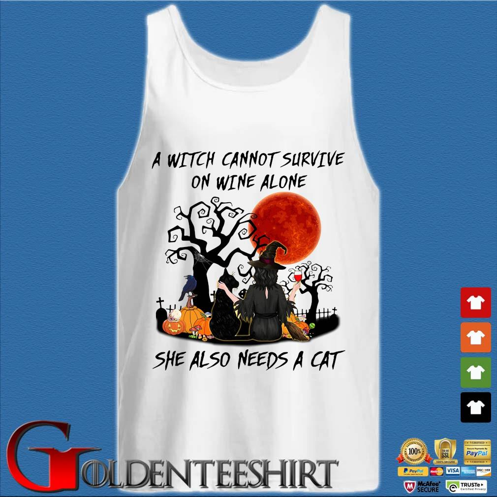 A witch cannot survive on wine alone she also needs a cat pumpkin Halloween s Tank top trắng