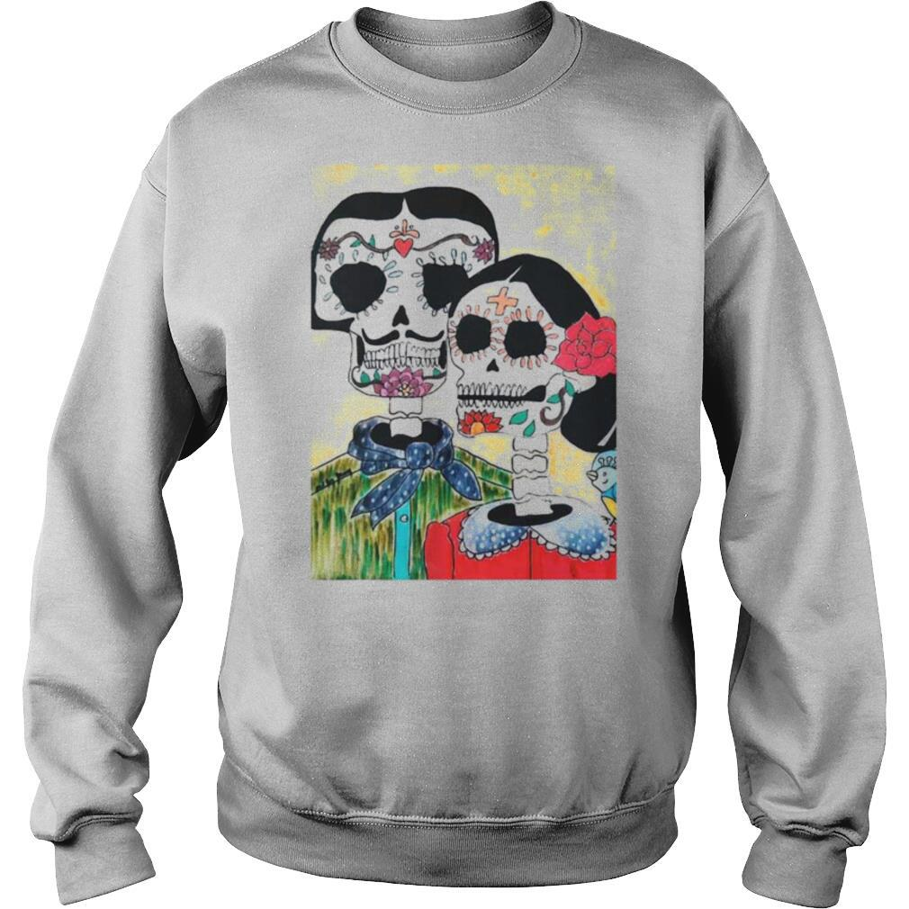 Amor Sugar Skull Couple Dia De Los Muertos Day Of The Dead shirt