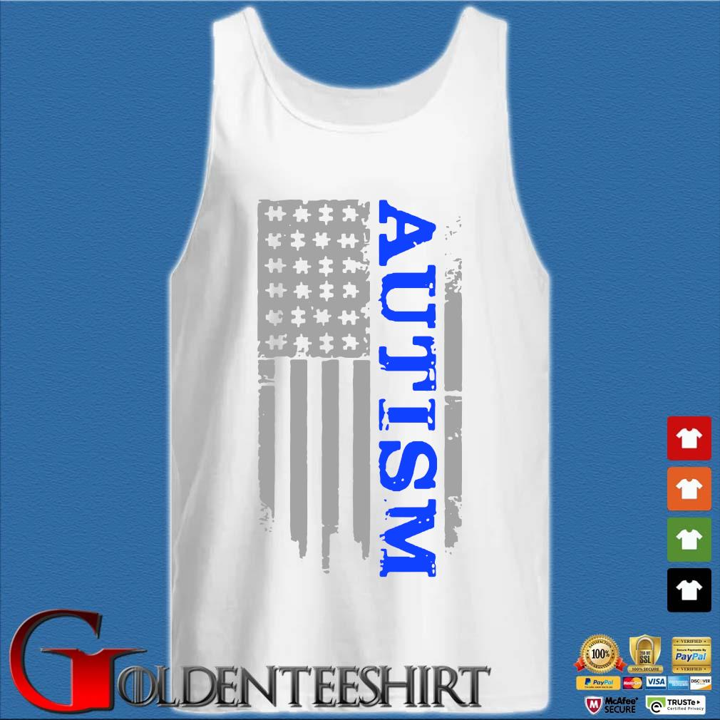 Autism Awareness American flag s Tank top trắng