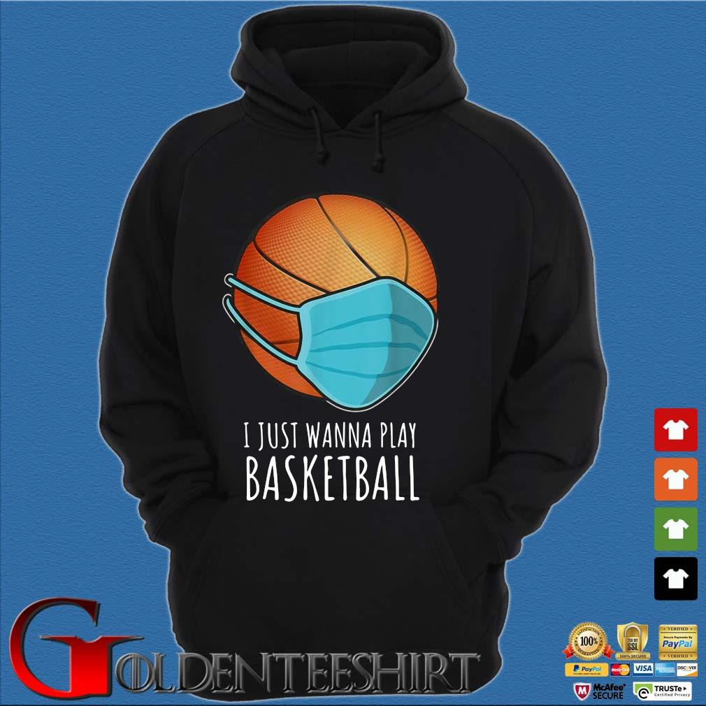 Basketball face mask I just wanna play s Hoodie đen
