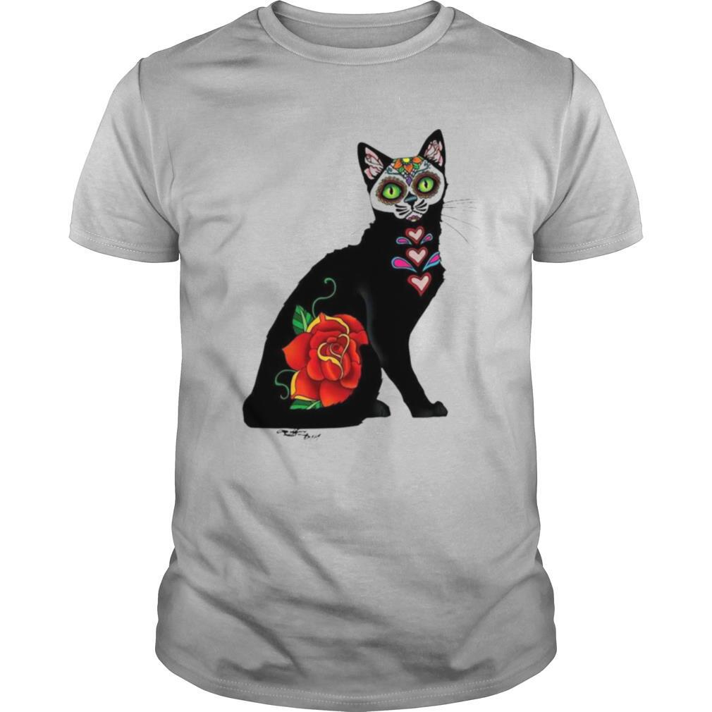 Black Cat Make Sugar Skull With Rose Day Of The Dead shirt
