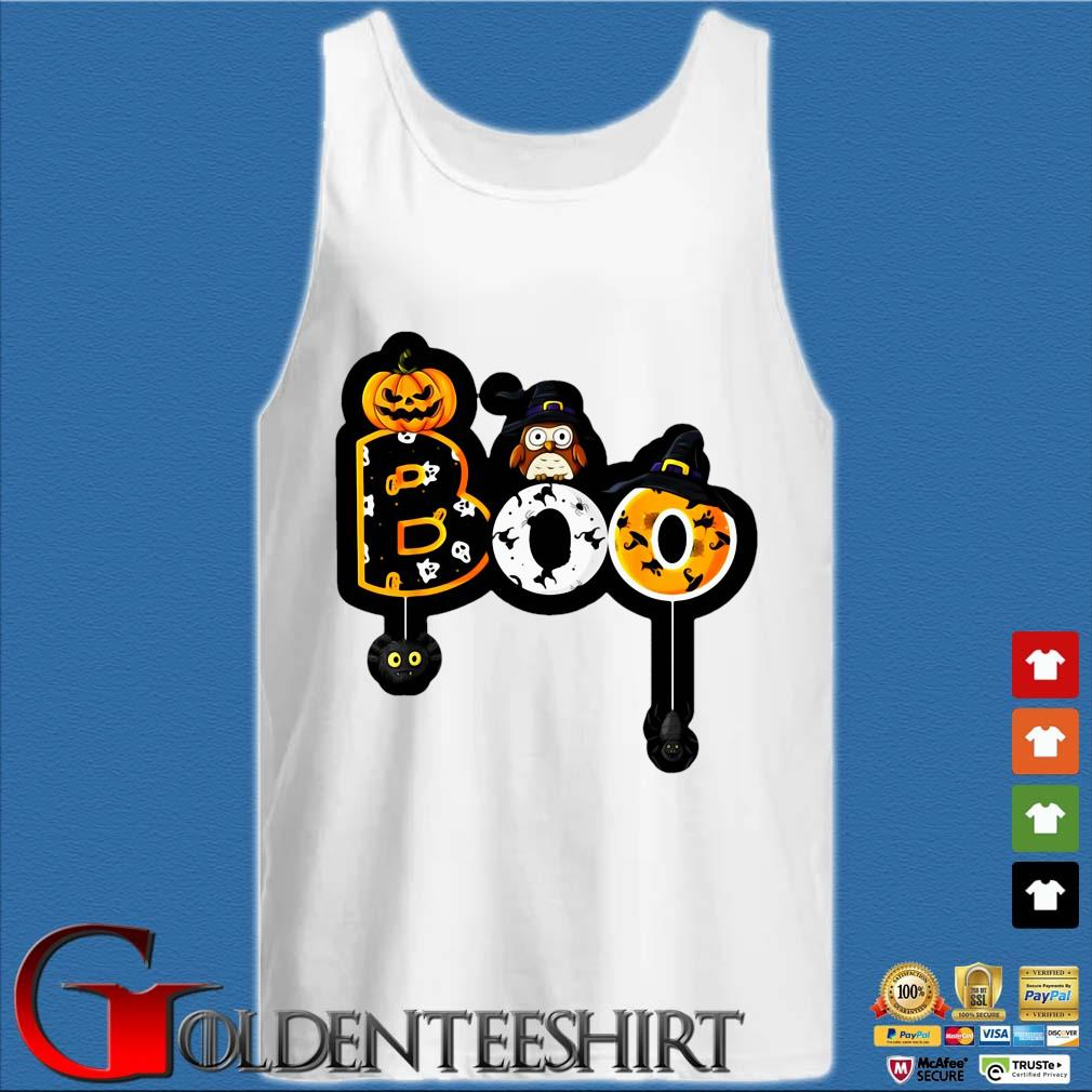 Boo owl with witch hat spiders Halloween s Tank top trắng