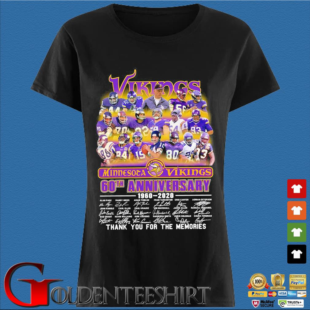 he Minnesota Vikings 60th anniversary 1960-2020 signatures thank you for the memories s Den Ladies