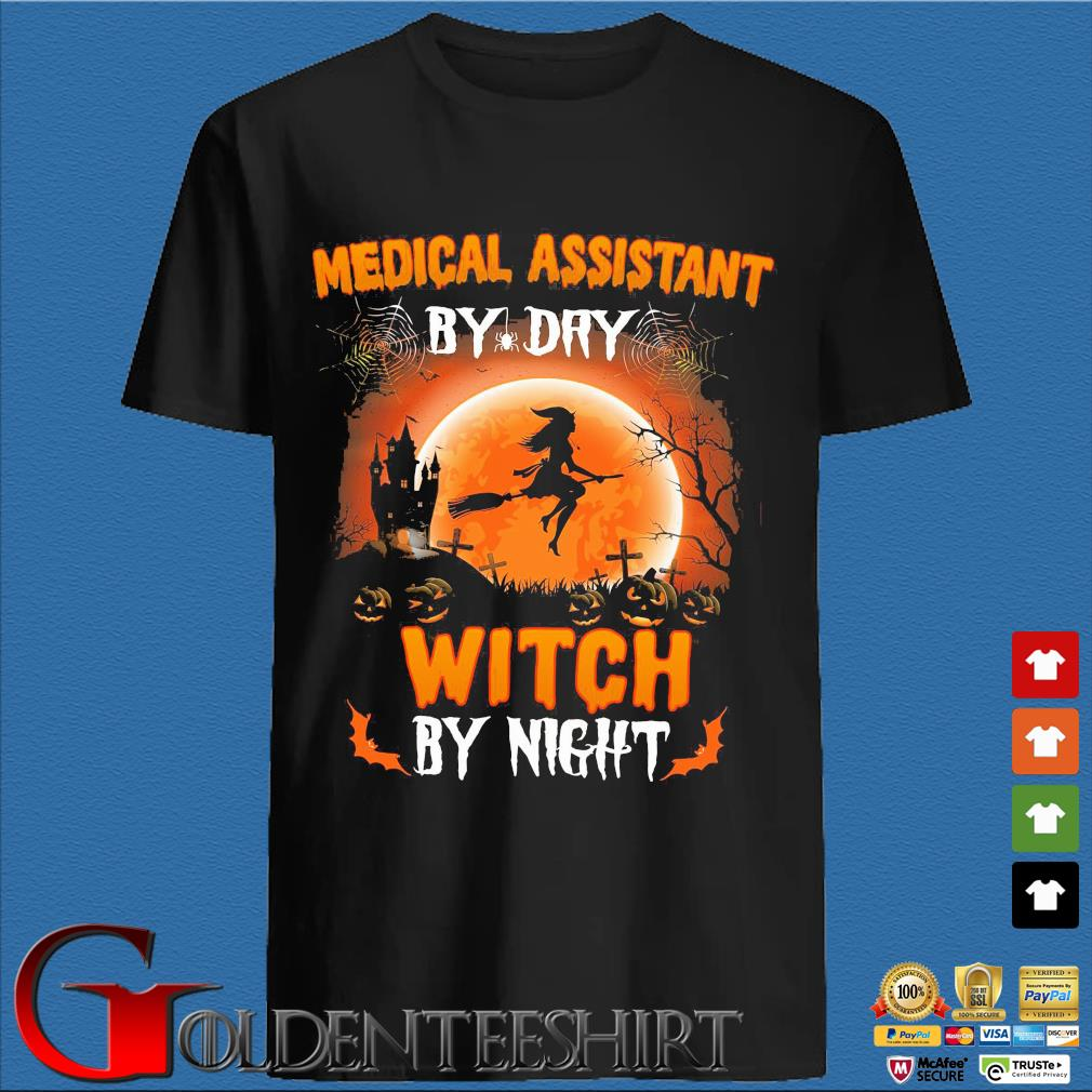 Medical assistant by dry witch by night Halloween sunset shirt