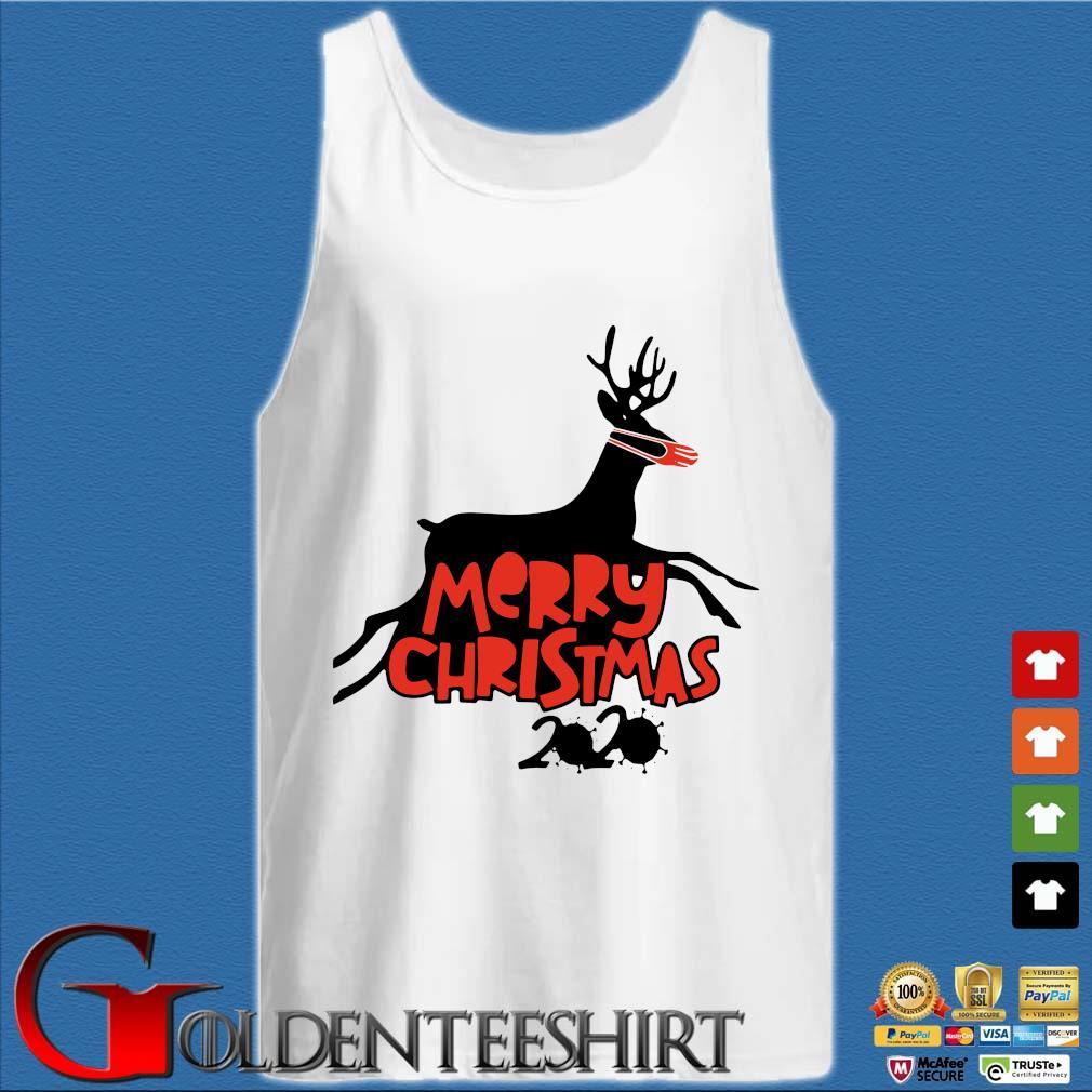 Merry Christmas 2020 reindeer wear a mask s Tank top trắng