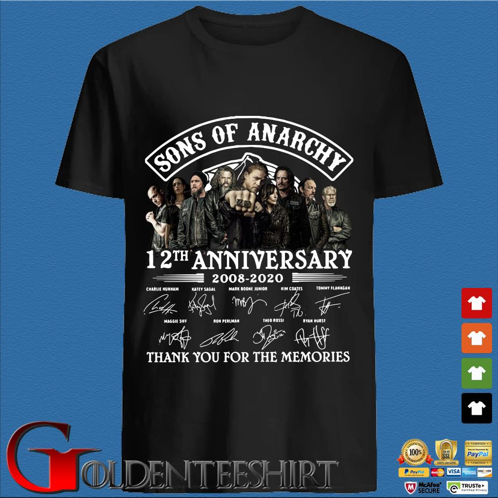Sons of anarchy 12th anniversary 2008 2020 thank you for the memories signatures shirt