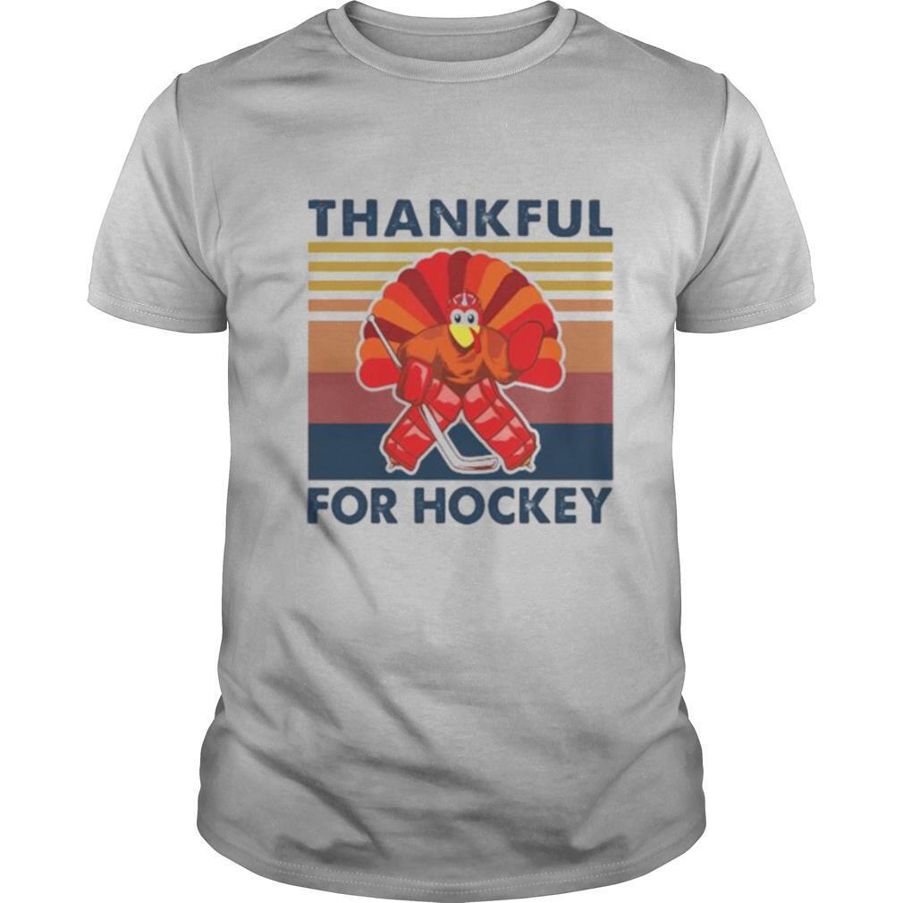 Thankful for hockey vintage retro shirt