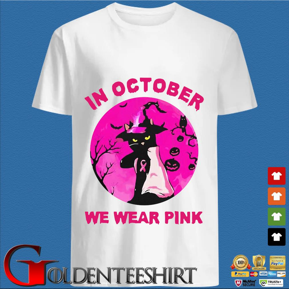 Witch black cat breast cancer awareness in October we wear pink Halloween shirt