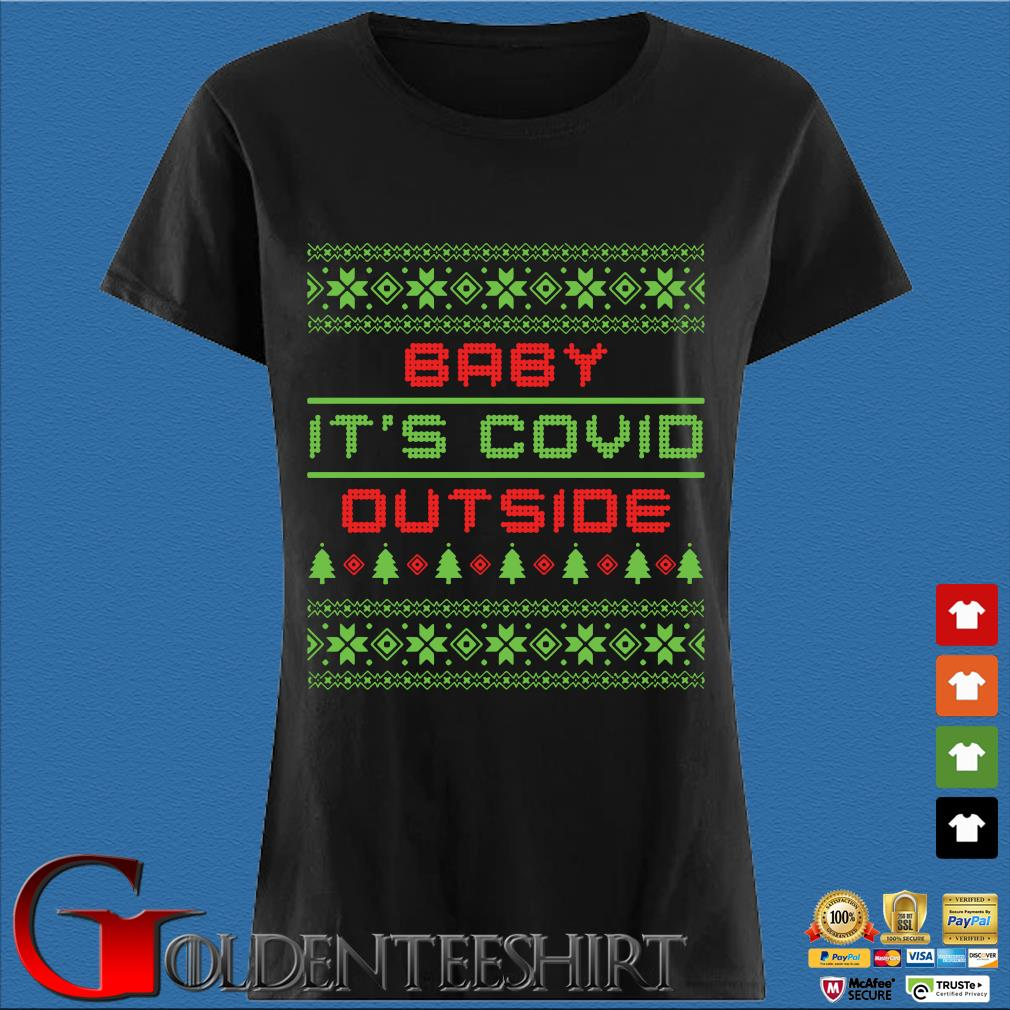 Baby it's Covid out side Ugly Christmas sweater Den Ladies