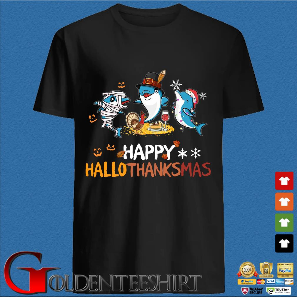 Baby Shark Halloween and Merry Christmas happy Hallothanksmas shirt