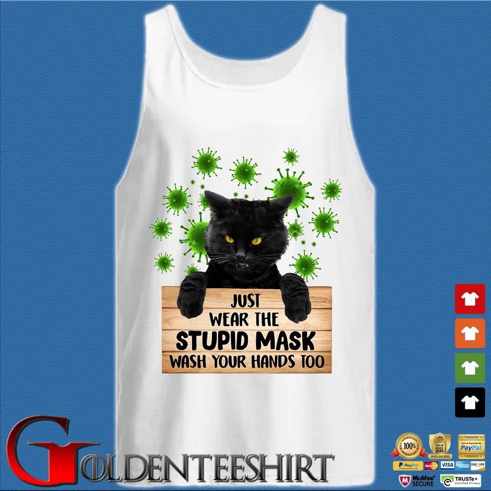 Black cat just wear the stupid mask wash your hands too s Tank top trắng