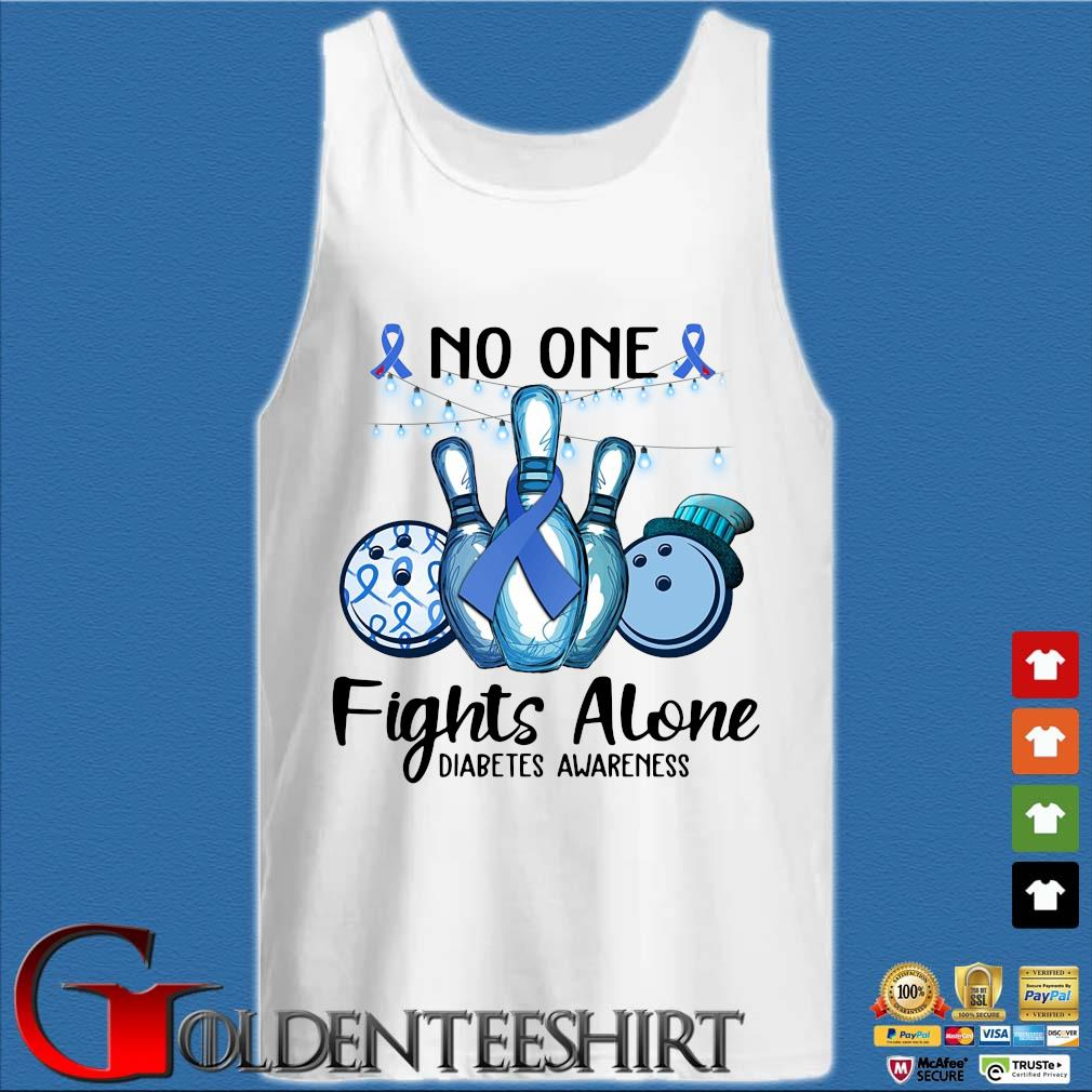 Bowling no one fights alone diabetes awareness breast cancer blue s Tank top trắng