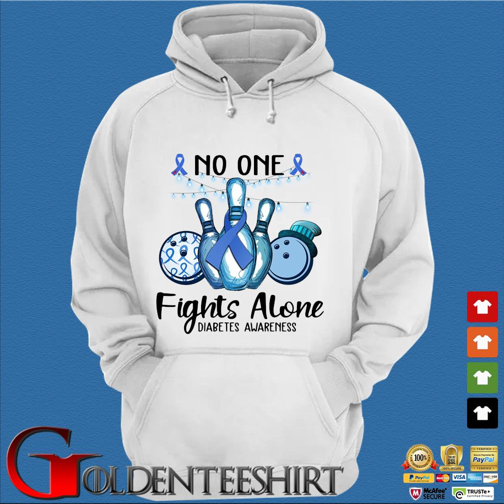Bowling no one fights alone diabetes awareness breast cancer blue s Trang Hoodie