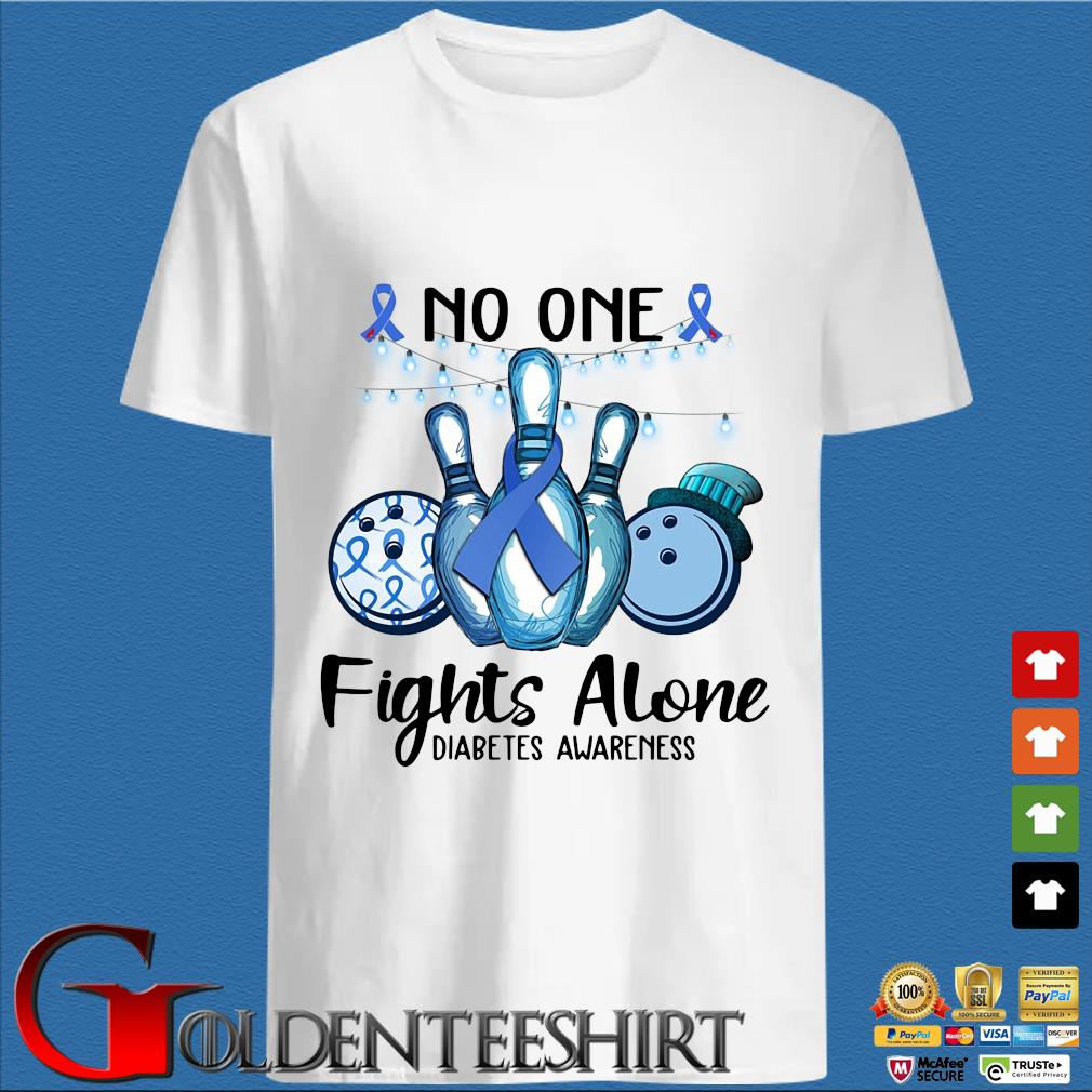 Bowling no one fights alone diabetes awareness breast cancer blue shirt