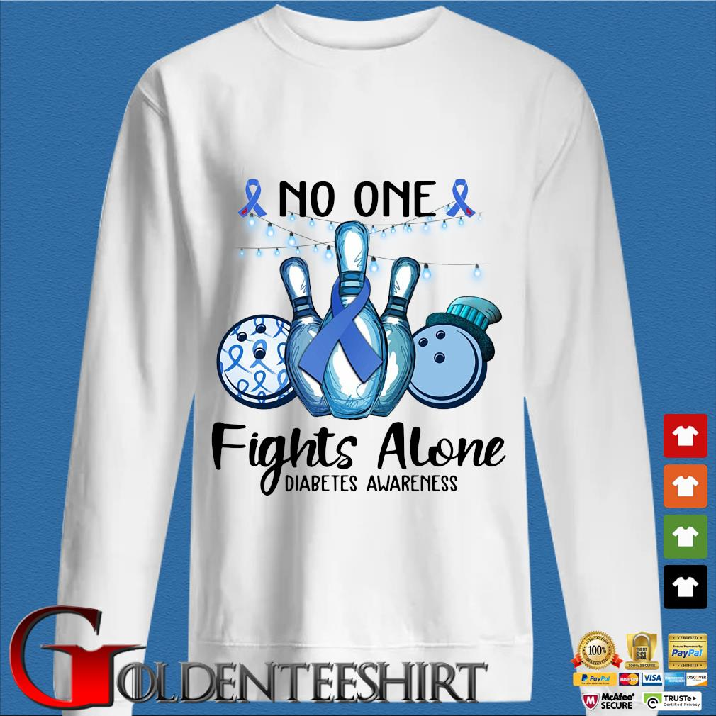 Bowling no one fights alone diabetes awareness breast cancer blue s trang Sweater