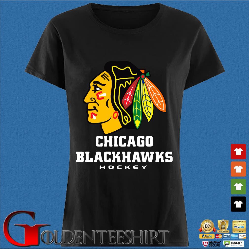 Logo NHL Chicago Blackhawks Hockey Shirt Den Ladies