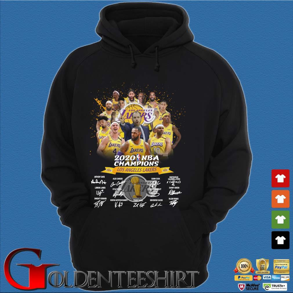 Los Angeles Lakers 2020 NBA Champions signatures s Hoodie đen